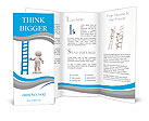 3d people - man, person with a big ladder. Brochure Templates
