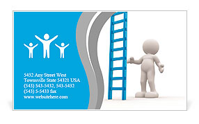 3d people - man, person with a big ladder. Business Card Template