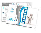 3d people - man, person with a big ladder. Postcard Template