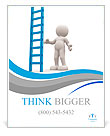3d people - man, person with a big ladder. Poster Template