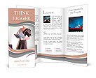 Business style - stylish lovely businesswoman reporting at working space. Series of photos Brochure Templates