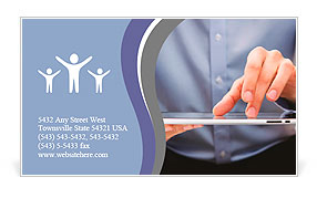 Young adult working on a digital tablet Business Card Templates