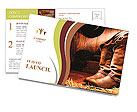 American West rodeo cowboy traditional leather working rancher roper boots with authentic Western ri Postcard Template