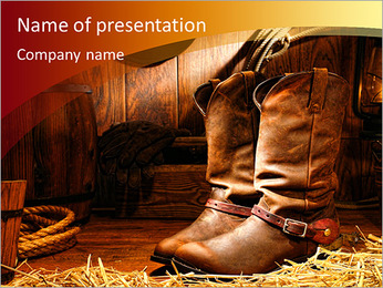 American West rodeo cowboy traditional leather working rancher roper boots with authentic Western ri PowerPoint Template