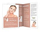 Portrait of young woman applying moisturizer cream on her pretty face - white background Brochure Templates