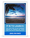 Tropical sunset with palm tree and cloudy sky Ad Template
