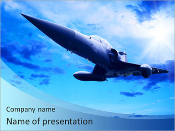 Military airplan on the speed PowerPoint Template