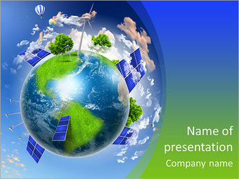 Collage with solar batteries as alternative source of energy PowerPoint Template