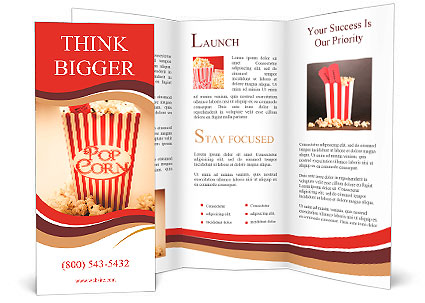 Depiction of the fifties cinema era with a vintage red for Movie brochure template
