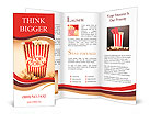 Depiction Of The Fifties Cinema Era With A Vintage Red Striped Old Popcorn Box Overflowing With Butt Brochure Template