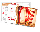 Depiction Of The Fifties Cinema Era With A Vintage Red Striped Old Popcorn Box Overflowing With Butt Postcard Template