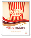 Depiction Of The Fifties Cinema Era With A Vintage Red Striped Old Popcorn Box Overflowing With Butt Poster Template