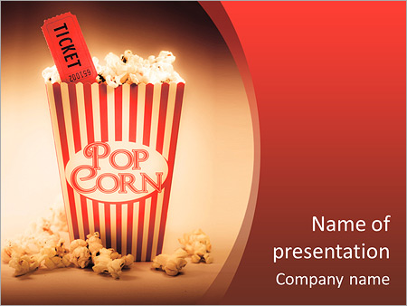 Vintage powerpoint template smiletemplates depiction of the fifties cinema era with a vintage red striped old popcorn box overflowing with toneelgroepblik Image collections