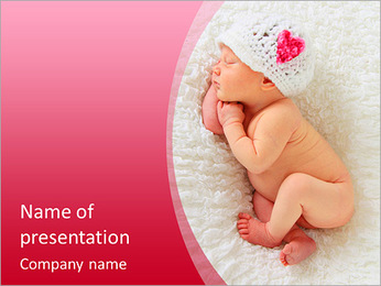 Newborn baby girl asleep on a blanket. This image is also available in a Christmas version with a po PowerPoint Template