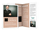Young handsome businessman in black suit. Brochure Templates