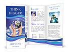 Holding a glowing earth globe in his hands Brochure Templates