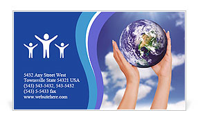Holding a glowing earth globe in his hands Business Card Template