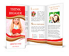 Young girl holding a red heart Brochure Templates