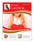 Young girl holding a red heart Flyer Template