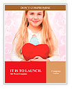 Young girl holding a red heart Word Templates
