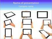 Tablet computer isolated in a hand on the white backgrounds. collections PowerPoint Templates
