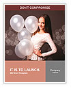 Beautiful fashion woman in studio with white balloons Word Templates