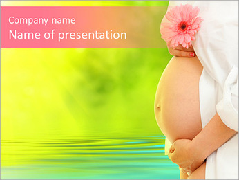 Pregnant woman belly (28 week) and pink daisy flower PowerPoint Template