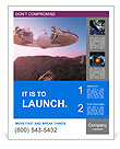 Spacecraft over the mountainous terrain of the planet. Poster Template