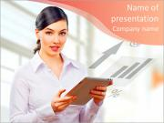 A woman holding a tablet pc PowerPoint Templates