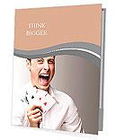 Portrait of a crazy man showing poker cards against a grey background Presentation Folder