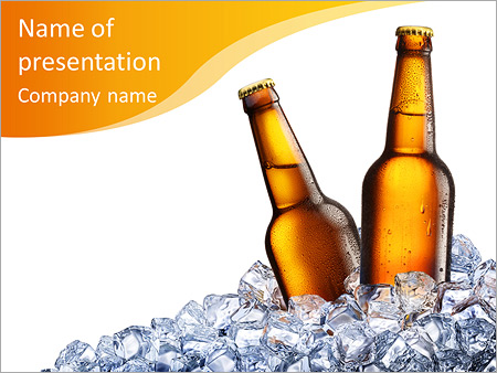 two bottles of beer on ice isolated on white background powerpoint