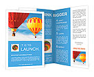 Two colorful hot air balloons floating in the sky Brochure Template