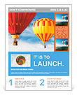 Two colorful hot air balloons floating in the sky Flyer Template