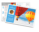 Two colorful hot air balloons floating in the sky Postcard Templates