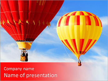 Two colorful hot air balloons floating in the sky PowerPoint Template