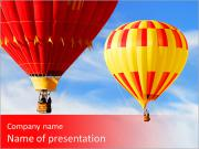 Two colorful hot air balloons floating in the sky PowerPoint Templates