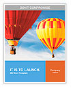 Two colorful hot air balloons floating in the sky Word Templates