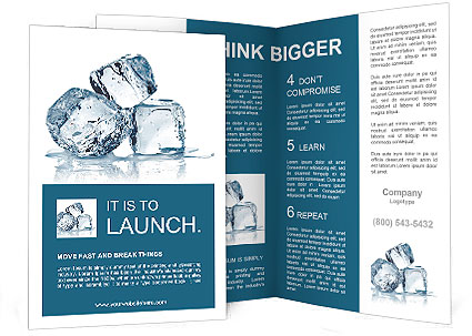 Three Ice Cubes On White Background Brochure Template Design Id