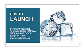 three ice cubes on white background business card template design