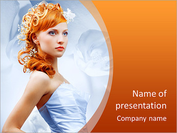 Beautiful girl in wedding dress with creative hair. Flowers background. PowerPoint Template