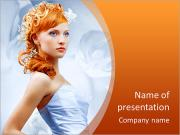 Beautiful girl in wedding dress with creative hair. Flowers background. PowerPoint Templates