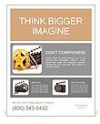 Movie film reels and cinema clapper. 3D render Poster Template