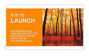 Lake in autumn forest. Beautiful nature background. Business Card Template