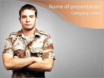Portrait of a serious young soldier standing against a grey background PowerPoint Template