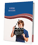 Casual young man holding a clapboard, over a gray background Presentation Folder