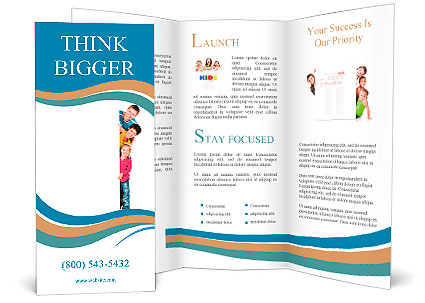 Beautiful Fun Family Behind A White Blank Brochure Template Design - Blank brochure templates