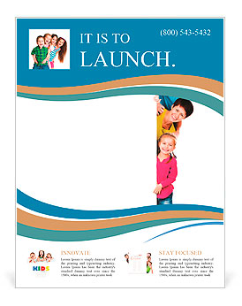 Beautiful fun family behind a white blank Flyer Template & Design ...