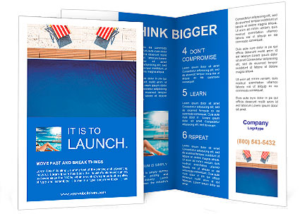 D Swimming Pool With Beach Chairs Brochure Template Design ID - 3d brochure template