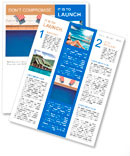 3d swimming pool with beach chairs Newsletter Template