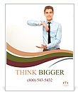 Young man holding blank poster Poster Template
